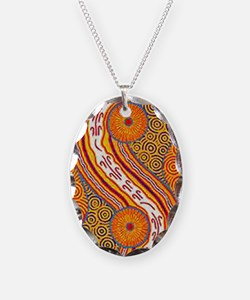 aboriginal australian art 2 Necklace Oval Charm
