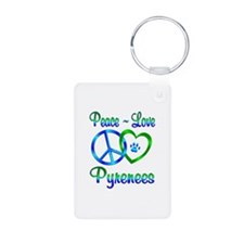 Peace Love Pyrenees Aluminum Photo Keychain