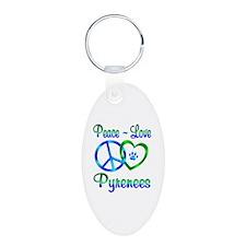 Peace Love Pyrenees Aluminum Oval Keychain