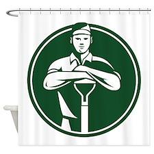 Gardener Landscaper Shovel Front Retro Shower Curt