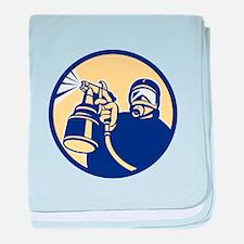 Spray Paint Gun Painter Spraying Retro baby blanke