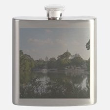Atlanta Piedmont Park City Lake and Skyline  Flask