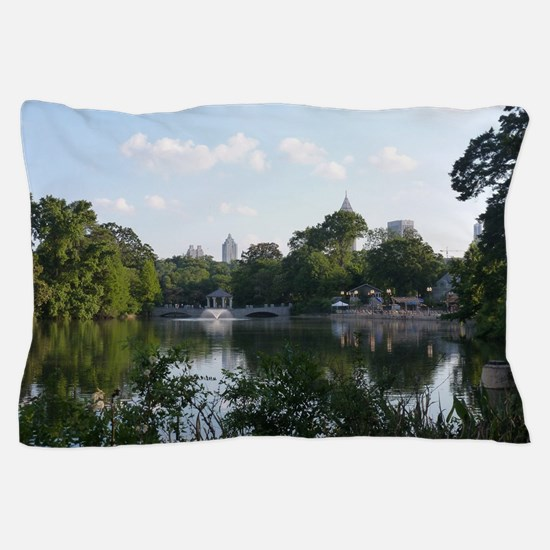 Atlanta Piedmont Park City Lake and Sk Pillow Case