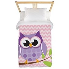 Cute Purple Owl on Pink Chevron Pattern 2 Twin Duv
