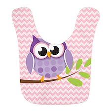 Cute Purple Owl on Pink Chevron Pattern 2 Bib