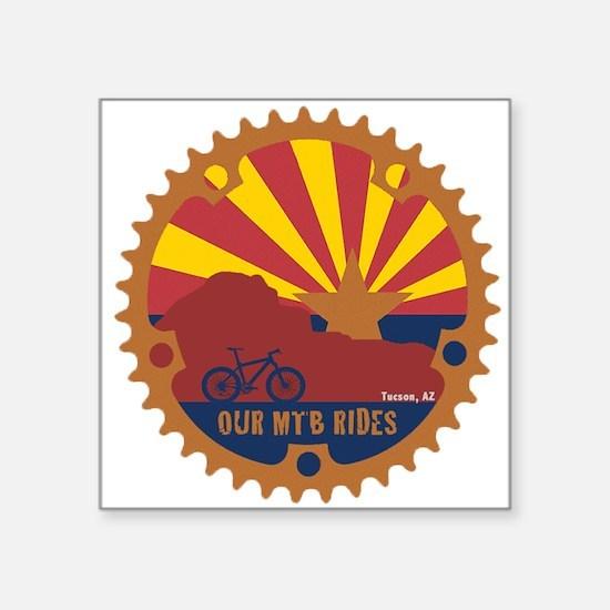 "Our Mtb Rides Square Sticker 3"" X 3"""