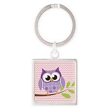 Cute Purple Owl on Pink Chevron Pattern 3 Keychain