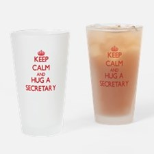 Keep Calm and Hug a Secretary Drinking Glass