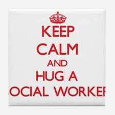 Keep Calm and Hug a Social Worker Tile Coaster