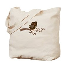Vintage Lace Owl on Swirly Branch Tote Bag
