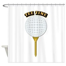 Golf Tee-Time with Text Shower Curtain