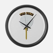 Golf Tee-Time with Text Large Wall Clock