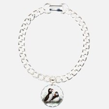 Cute Watercolor Puffin Ocean Bird Art Bracelet
