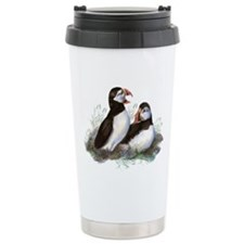 Cute Watercolor Puffin Ocean Bird Art Travel Mug