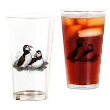 Cute Watercolor Puffin Ocean Bird Art Drinking Gla
