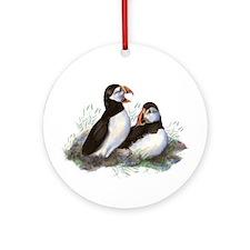 Cute Watercolor Puffin Ocean Bird Art Ornament (Ro
