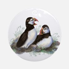 Cute Watercolor Puffin Ocean Bird Art Ornament (Ro