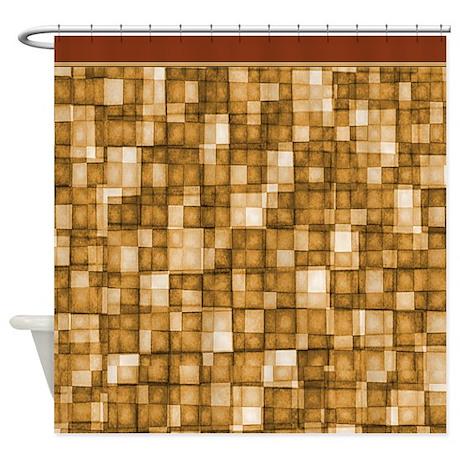 Watercolor Mosaic Tiles Shades Of Tan Brown Shower By Digitalrealityart