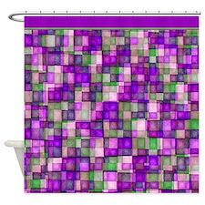 Watercolor Mosaic Tiles Shades of Purple Green Sho