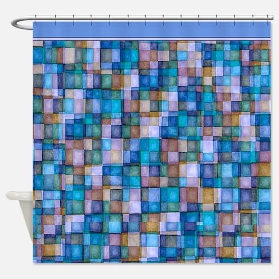 Watercolor Mosaic Tiles Shades of Lavender Blue Sh