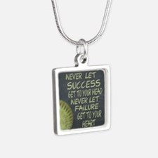 Success Fastpitch Softball Silver Square Necklace