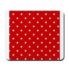 White Stars on Red Mousepad