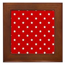 White Stars on Red Framed Tile