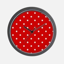 White Stars on Red Wall Clock