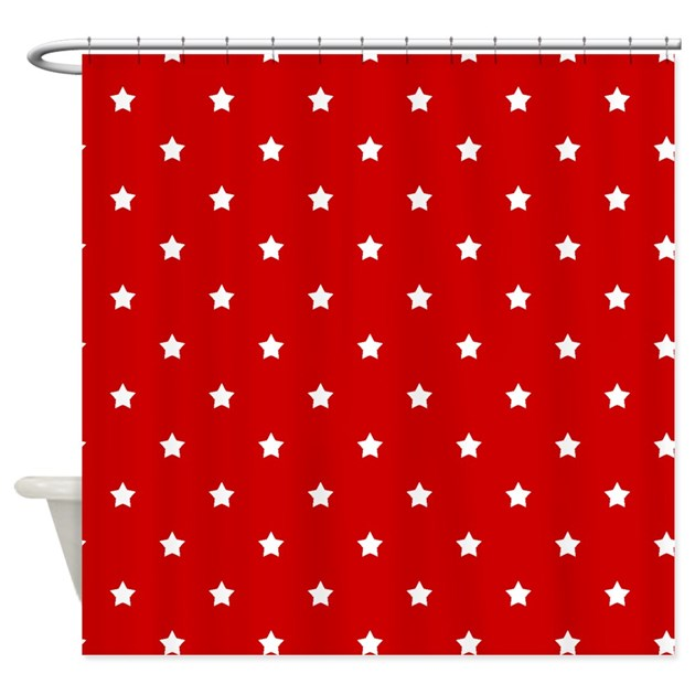 White Stars On Red Shower Curtain By Stircrazy
