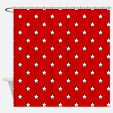 White Stars on Red Shower Curtain