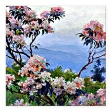 "Laurel blossoms - Charle Square Car Magnet 3"" x 3"""