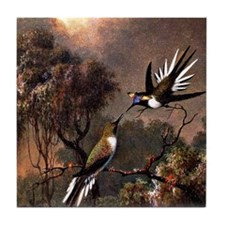 Two Sun Gems on a Branch, bird painti Tile Coaster
