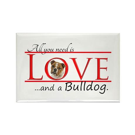 Love a Bulldog Rectangle Magnet