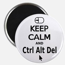 Keep Calm and Control Alt Delete (black) Magnets