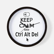 Keep Calm and Control Alt Delete (black) Wall Cloc