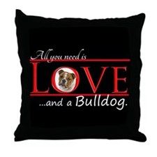 Love a Bulldog Throw Pillow
