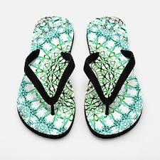 Evergreen Mandala Pattern Flip Flops