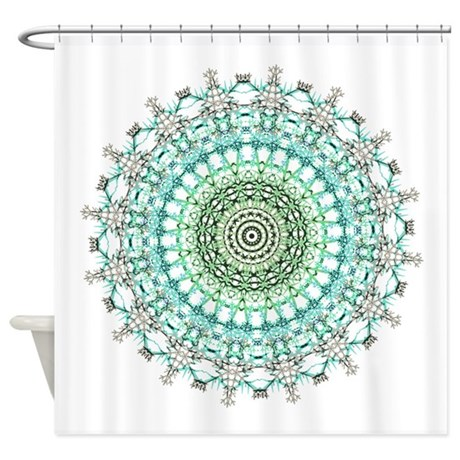 Evergreen Mandala Pattern Shower Curtain By Damask