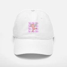 Flying Pig and Pink Hearts Baseball Baseball Cap