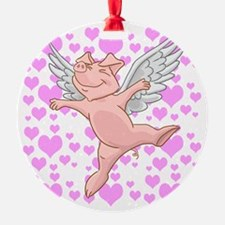Flying Pig and Pink Hearts Ornament
