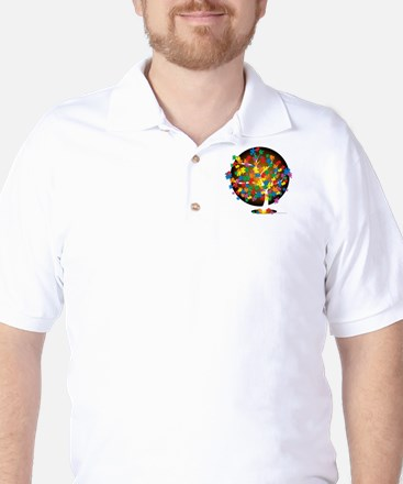 Autism-Tree-blk Golf Shirt
