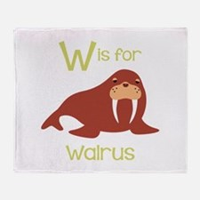 W Is For Walrus Throw Blanket