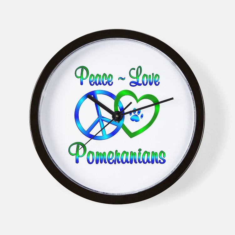 Peace Love Pomeranians Wall Clock