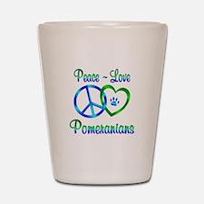 Peace Love Pomeranians Shot Glass
