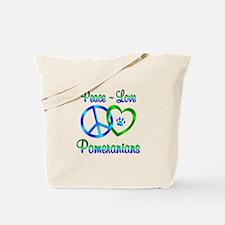 Peace Love Pomeranians Tote Bag