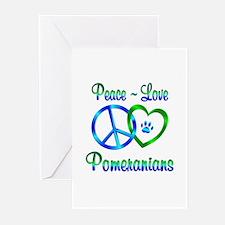 Peace Love Pomeranians Greeting Cards (Pk of 10)