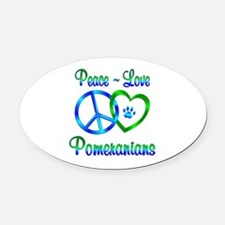 Peace Love Pomeranians Oval Car Magnet