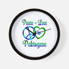 Peace Love Pekingese Wall Clock
