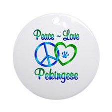 Peace Love Pekingese Ornament (Round)