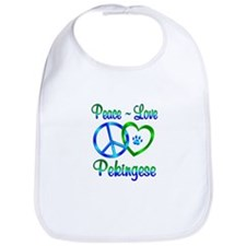 Peace Love Pekingese Bib